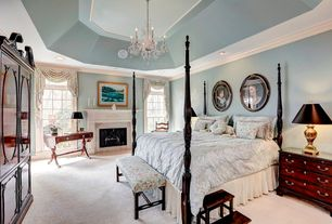 Traditional Master Bedroom with Chandelier, Gallery Venetian-style All-crystal 12-light Chandelier, Crown molding, Carpet