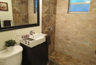 Contemporary 3/4 Bathroom with MS International  Noche Alpaca Travertine Tile, double-hung window, European Cabinets, Shower