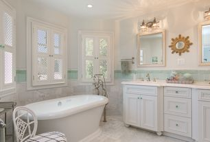 Traditional Master Bathroom with Large Ceramic Tile, Flat panel cabinets, Undermount sink, Master bathroom, Freestanding