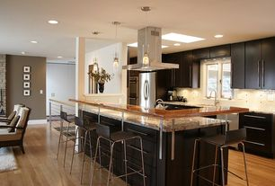 Contemporary Kitchen with Bar stool, Double cylinder glass pendant, Ikea kitchen cabinets, Paint 1