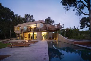 Contemporary Swimming Pool with Fence, Outdoor kitchen, Transom window