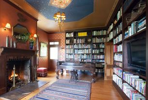 Traditional Home Office with Wall sconce, stone fireplace, Fireplace, interior wallpaper, Standard height, Built-in bookshelf