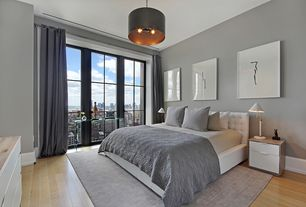 Contemporary Guest Bedroom with Standard height, Paint, Pendant light, French doors, Hardwood floors