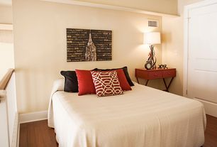 Contemporary Guest Bedroom with Hardwood floors, X accent table, specialty door