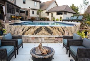 Traditional Patio with exterior stone floors, Glass panel door, Fire pit