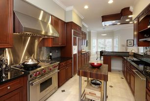 Traditional Kitchen with Kitchen island, Crown molding, Durasupreme Cabinets -  Marquis Style Cabinet in Cherry, Raised panel