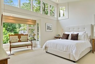 Contemporary Guest Bedroom with Brenna Pull-Tuft Bed, Talc, High ceiling, Transom window, Carpet