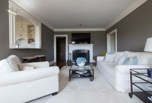 Traditional Living Room with Crown molding, Cement fireplace, metal fireplace, Hardwood floors