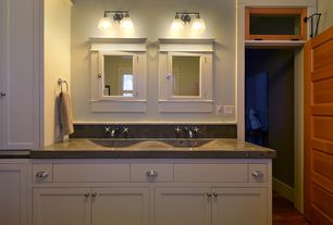 Craftsman Master Bathroom with Transom window, Flat panel cabinets, specialty door, wall-mounted above mirror bathroom light