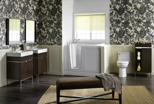 "Traditional Full Bathroom with Wainscotting, Joss & Main Meekins Bench, Vigo Adonia 21"" Single Bathroom Vanity Set, Bathtub"