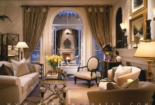 Traditional Living Room with Wall sconce, Box ceiling, French doors, Transom window, Arched window, High ceiling, Fireplace