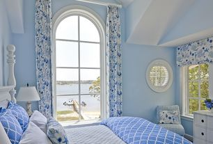 Traditional Guest Bedroom with Paint, specialty window, Arched window, picture window, High ceiling