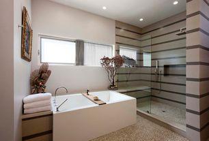 Modern Master Bathroom with quartz tile floors, Bamboo Bathtub Tray, Handheld showerhead, Recessed shower niche, Freestanding