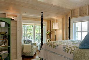 Cottage Guest Bedroom with Great Island Bookshelf, Lucy Chair, STINSON WOOD BED, Hardwood floors, Wall sconce