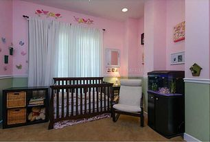 Traditional Kids Bedroom with Standard height, Carpet, can lights, no bedroom feature, Mural, Chair rail