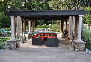 Traditional Patio with Fence, Trellis, exterior stone floors