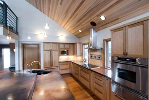 "Contemporary Kitchen with Mahogany Wood Paneling - Covers 16 Sq Ft, Air King 36"" 600 CFM Granada Chimney Style Range Hood"