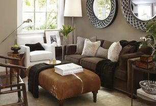 Contemporary Living Room with Standard height, Carpet, Area rug, Oxidized silver wall mirror, Casement, Paint