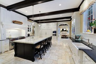 Traditional Kitchen with Custom hood, Exposed beam, Casement, Undermount sink, Flat panel cabinets, double wall oven, Paint 1
