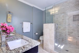 Contemporary Master Bathroom with Crown molding, Undermount sink, Rain shower, travertine floors, Complex granite counters