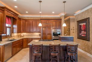 "Traditional Kitchen with Travertine durango light vein cut tile polished 18"" x 18"", Pendant light, limestone tile floors"