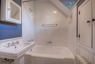 Cottage Full Bathroom with Wainscotting, tiled wall showerbath, High ceiling, European Cabinets, Pedestal sink, Flush