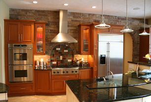 Modern Kitchen with Standard height, Undermount sink, partial backsplash, Flat panel cabinets, One-wall, Ceramic Tile