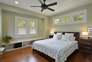 Master Bedroom with Standard height, Window seat, Built-in bookshelf, picture window, double-hung window, Paint 1, can lights