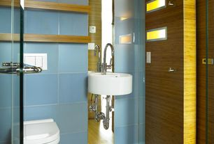 "Modern Powder Room with Hawa 3-3/4"" solid bamboo flooring in natural matte, Laminate floors, Bidet, Powder room"