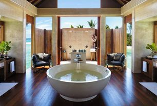 "Contemporary Master Bathroom with Espresso / cumaru / premiere / 5"", European Cabinets, Vessel sink, Wall sconce, Flush"