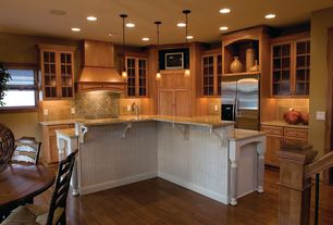 Country Kitchen with Ms international african rainbow granite, Glass panel, L-shaped, Undermount sink, Stone Tile