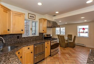 Traditional Kitchen with European Cabinets, U-shaped, Flat panel cabinets, Inset cabinets, herringbone tile floors