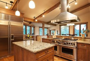 Craftsman Kitchen with Flat panel cabinets, Kitchen island, flush light, Box ceiling, Simple Granite, Hardwood floors