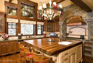 Rustic Kitchen with Hardwood floors, double oven range, drop-in sink, full backsplash, Chandelier, Framed Partial Panel