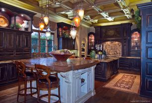 Traditional Kitchen with Transom window, electric cooktop, U-shaped, Box ceiling, Built-in bookshelf, full backsplash