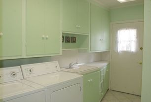 Modern Laundry Room with Undermount sink, Checkered diamond tile pattern, Tile