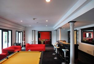 Modern Game Room with Columns, French doors, Carpet