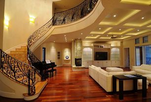 Contemporary Staircase with Laminate floors, Ceiling fan, Hardwood floors, Box ceiling
