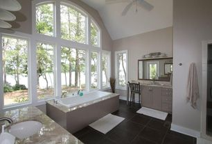 Modern Full Bathroom with wall-mounted above mirror bathroom light, frameless showerdoor, High ceiling, picture window