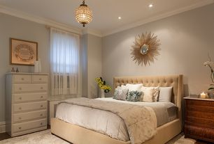 Contemporary Master Bedroom with Skyline furniture mystere velvet upholstered wingback bed, Bronze sunburst mirror, Paint