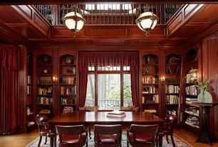 Traditional Home Office with Wall sconce, Loft, Window seat, High ceiling, Pendant light, Hardwood floors, Built-in bookshelf