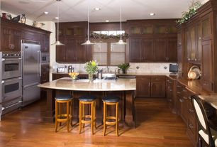 Traditional Kitchen with Kitchen island, Kable Lite Biz Pendant by Tech Lighting, Stone Tile, Jenn-air - double wall oven
