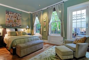 Contemporary Master Bedroom with French doors, Crown molding, bedroom reading light, can lights, Hardwood floors