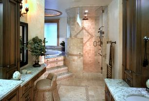 Traditional Master Bathroom with can lights, Raised panel, Handheld showerhead, Undermount sink, frameless showerdoor, Paint