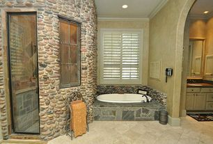 Craftsman Master Bathroom with Black Bear Premium Manufactured Stone - River Rock Silver / River Rock 1, Master bathroom