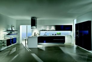 Contemporary Kitchen with Daltile City View 24 x 24 Downtown Nite CY04 Porcelain Tile, U-shaped, European Cabinets, Flush