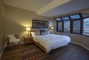 Contemporary Master Bedroom with Casement, Standard height, picture window, Hardwood floors