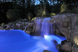 Rustic Swimming Pool with Fountain, Other Pool Type, exterior stone floors