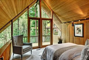 Craftsman Guest Bedroom with Wood panel wall, Wood panel ceiling, flush light, Vaulted ceiling, French doors, Transom window