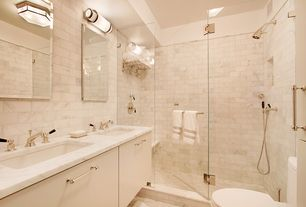 Contemporary Master Bathroom with stone tile floors, Undermount sink, linen and towel storage cabinet, Double sink, Flush